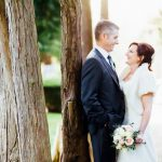 Wedding couple outside Nuthurst Grange West Midlands Winter Wedding