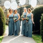 Moreton-in-the-Marsh spring wedding bridesmaids holding ballons