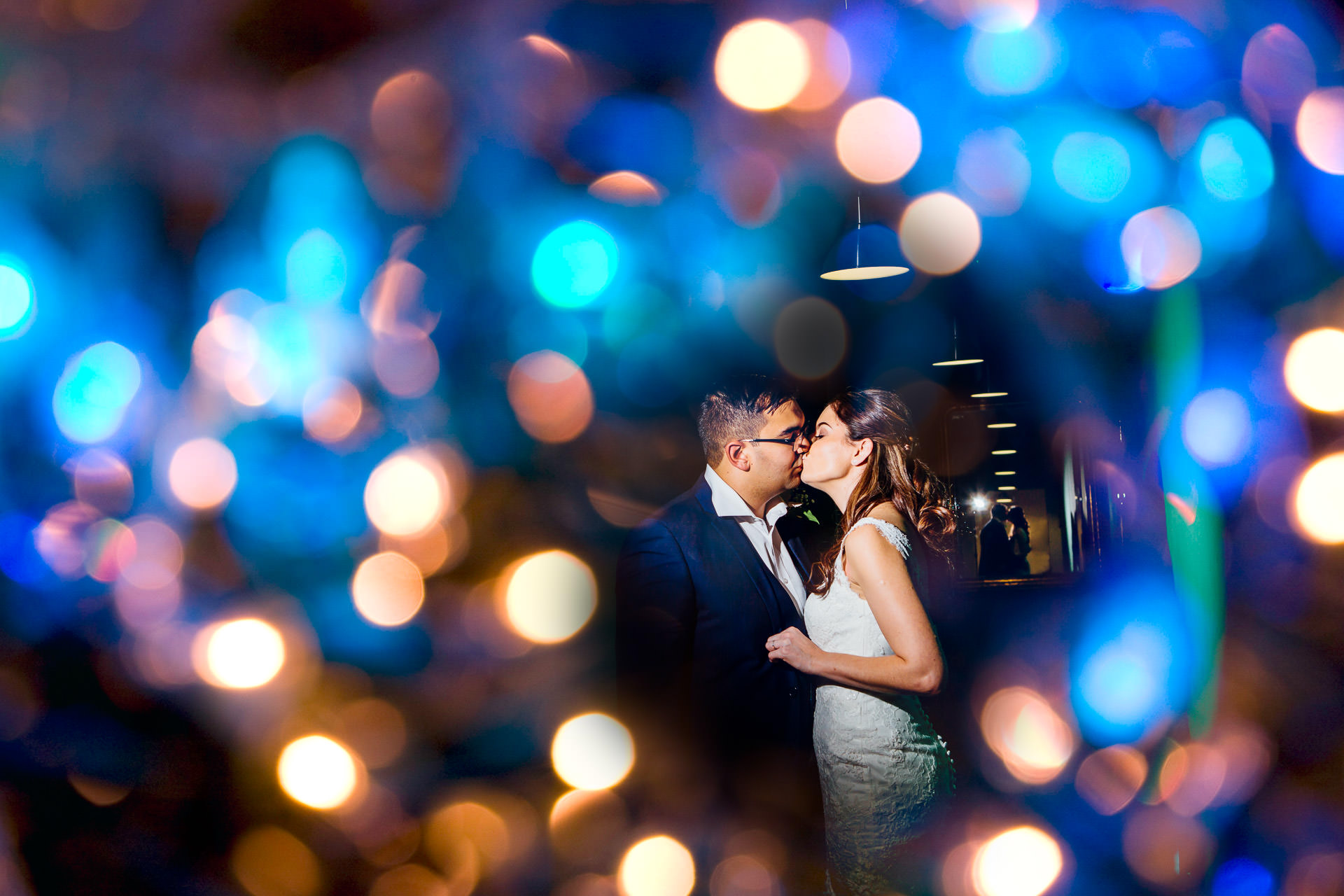 Fazeley Studios Wedding Photographer Bride and Groom lit with off-camera flash