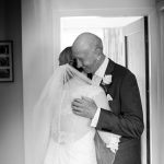 Bride's father seeing her for the first time in her wedding dress at a St Stephens church selly park wedding