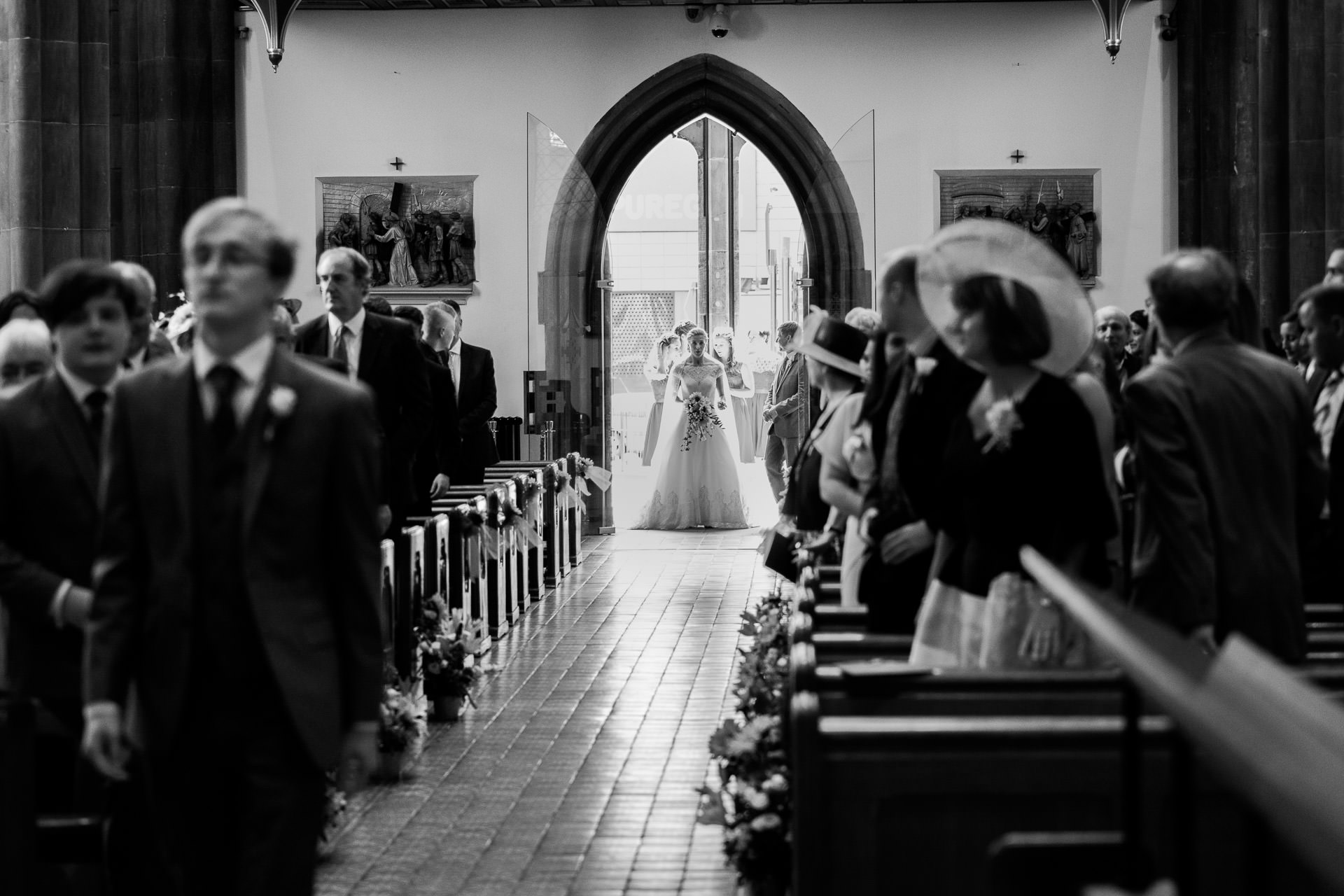 St Chads cathedral Birmingham Bride about to walk down aisle